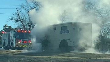 Brinks truck catches fire on side of I-85 in Gwinnett Co.