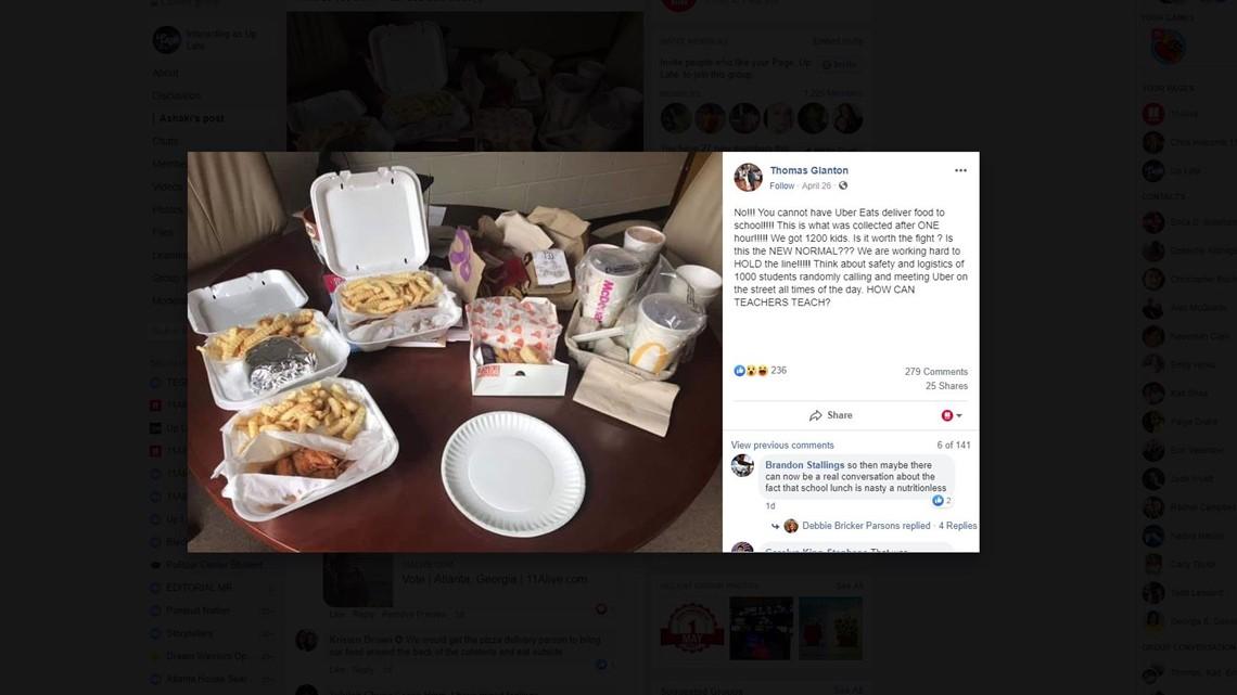 Photo: Uber Eats deliveries to school sparks online debate
