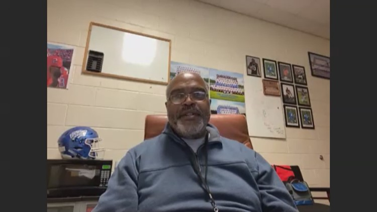 Mike Davis former high school coach Ron Gartrell speaks after Falcons sign 2-year deal