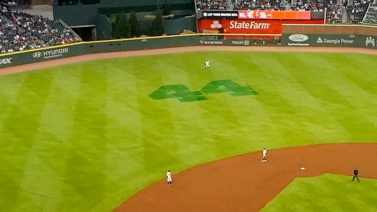 Why the Braves have a giant '44' in their outfield
