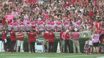 Bulldogs fans stage 'pink out' to support Arkansas State coach who lost wife to cancer