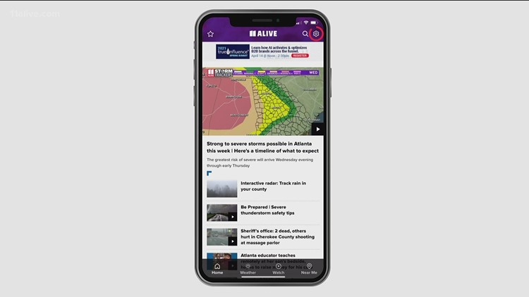 How to get weather alerts from the 11Alive app