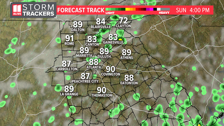 Hot with isolated storms Sunday
