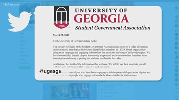 UGA fraternity suspended after members involved in racist video