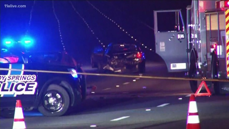 Several lanes shut down after car fire turns into crash on I-285 at Northside Drive