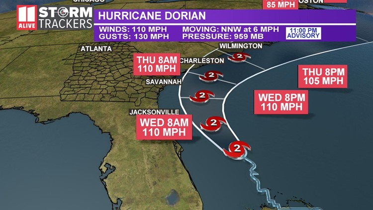 Dorian track 11 pm