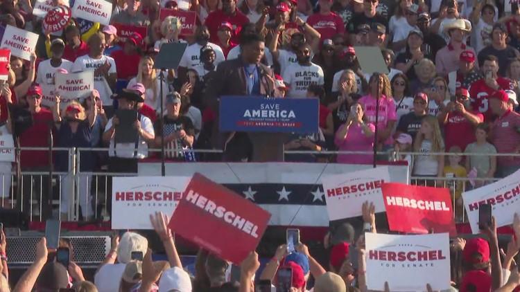 Senate candidate Herschel Walker campaigns at 'Save America' rally in central Georgia alongside Trump