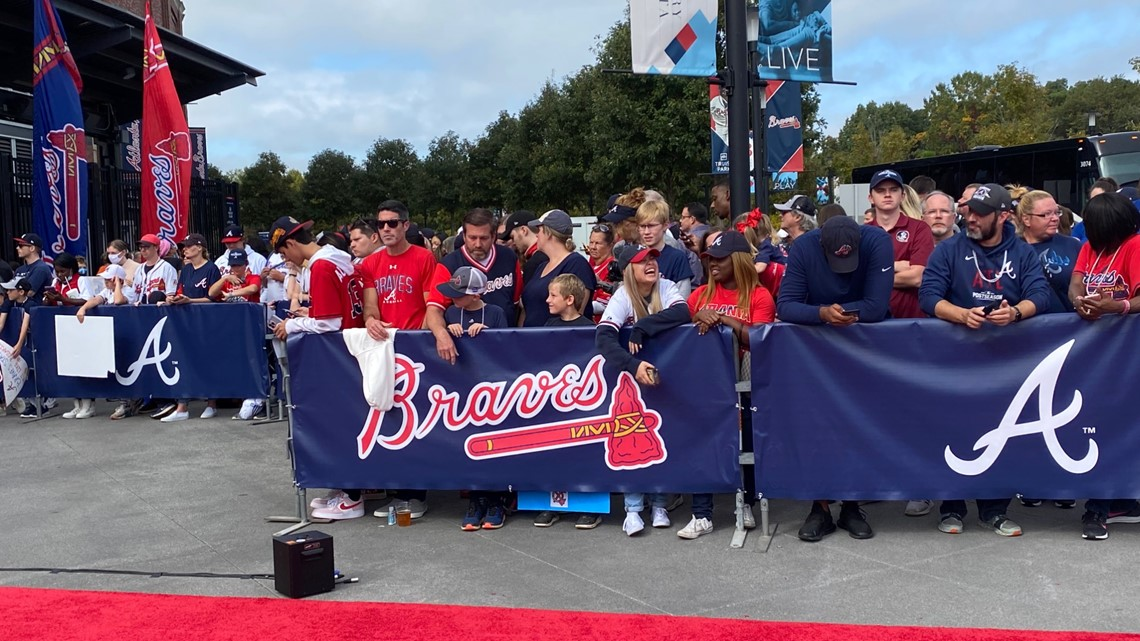 Fans pack Truist Park to cheer on Braves as team departs for World Series