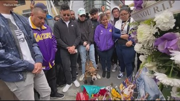 Grieving fans flock to Staples Center after learning the news of Kobe Bryant's death