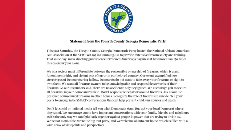 Forsyth County Democratic party posts letter to social media