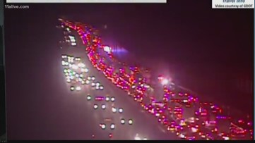 Crash involving multiple cars blocks all lanes on I-20
