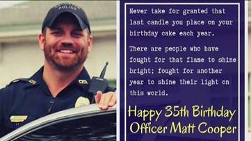 Covington officer shot in head celebrates 35th birthday
