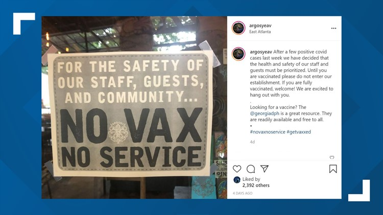 Atlanta restaurant requiring COVID vaccine for guests