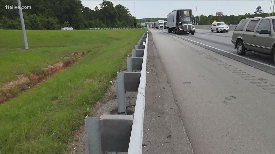 Guardrail removed from I-75 stretch after 11Alive questioned GDOT about safety