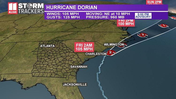 dorian track 5pm