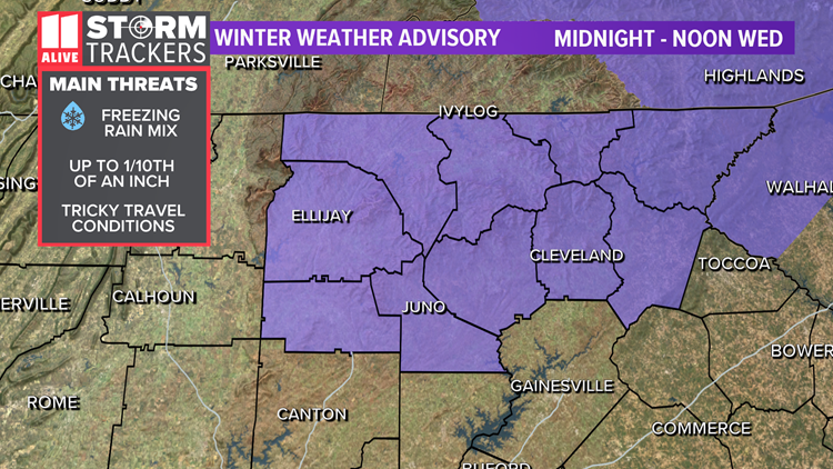 Winter Weather Advisory issued as freezing rain in north Georgia mountains possible