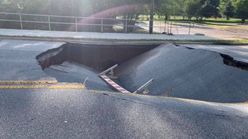Large sinkhole shuts down road between Rockdale schools in Conyers. Here are the routes you should take.